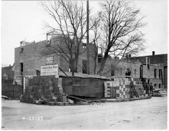 Black and white photograph of the construction site of St. Paul's Neighborhood House, April 23, 1923.