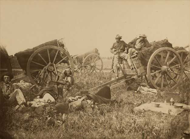 Black and white photograph of Red River Carts encamped, 1858.