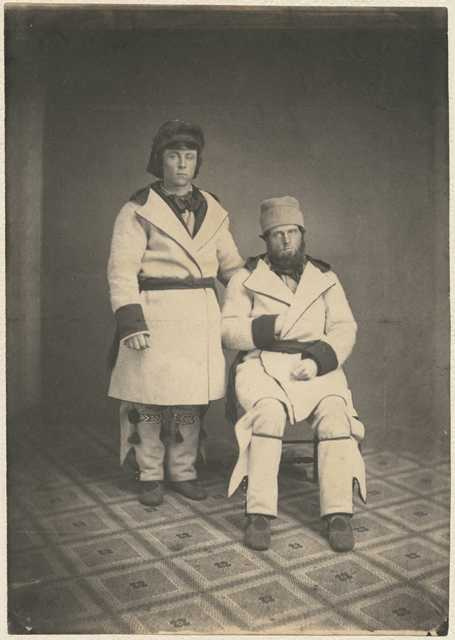 Black and white photograph of dog team drivers, Tarbell and Campbell, from Pembina, 1856.