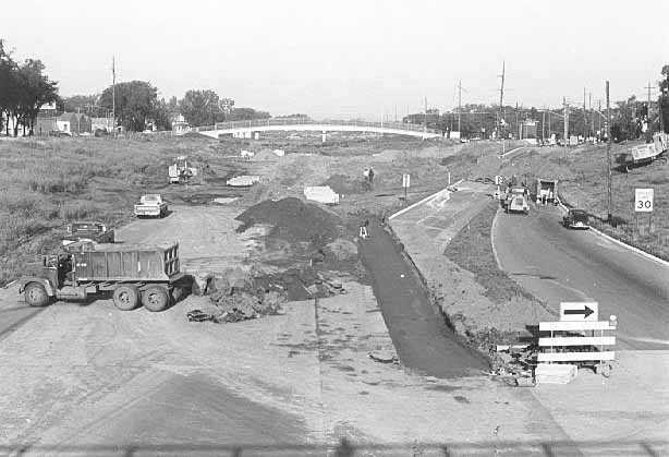 Black and white photograph of the construction of I-94 at the former intersection of Rondo and Fairview Avenues, September 1, 1967.