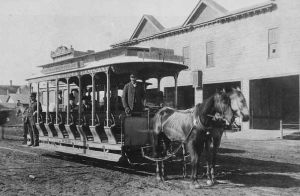 Black and white photograph of a horsecar in Minneapolis on Plymouth and Bloomington Avenue line, c.1888.