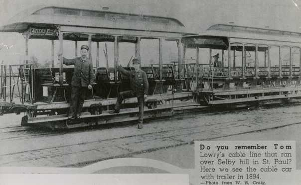 Black and white photograph of a six-bench open car and trailer on the Selby Avenue line, St. Paul, 1894.