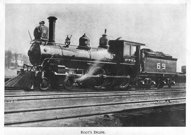 Root's engine, St. Paul and Duluth Railroad Company. The engine powered the last train load of survivors out of Hinckley during the fire in 1894. Photographed ca. 1895. James Root was the engineer on the evacuation train.