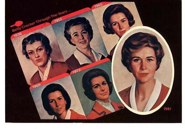 Color portraits of Betty Crocker, 1936–1981.