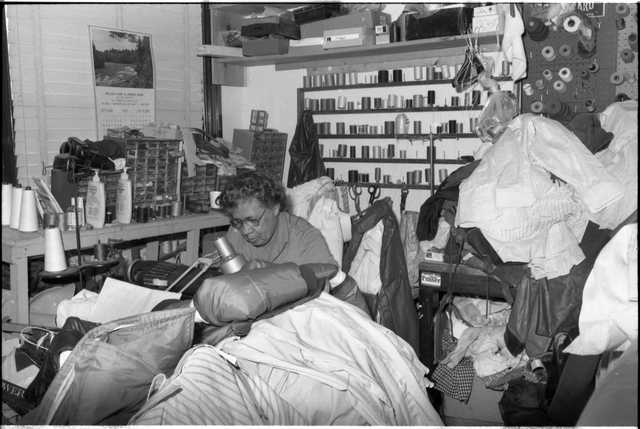 Nellie Stone Johnson at Nellie's Shirt and Zipper repair shop