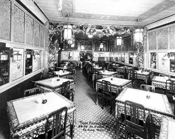 The interior of Yuen Faung Low (John's Place), a Chinese restaurant in Minneapolis (28–30 South Sixth Street), ca. 1915.