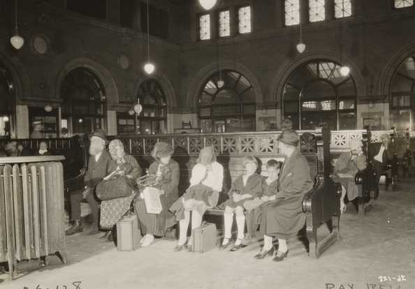 Black and white photograph of Travelers' Aid at Great Northern Depot, Minneapolis, c.1925.