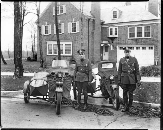 Photograph of police officers with motorcycles, St. Paul, 1941.
