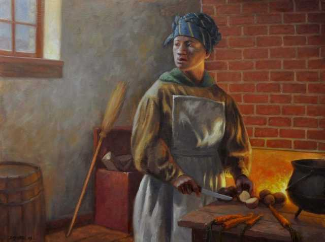 Oil on canvas painting depicting Harriet Scott at Fort Snelling  by David Geister, 2013.