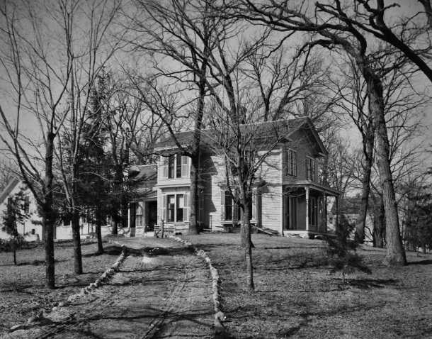 Black and white photograph of the Harrington House, c.1875.