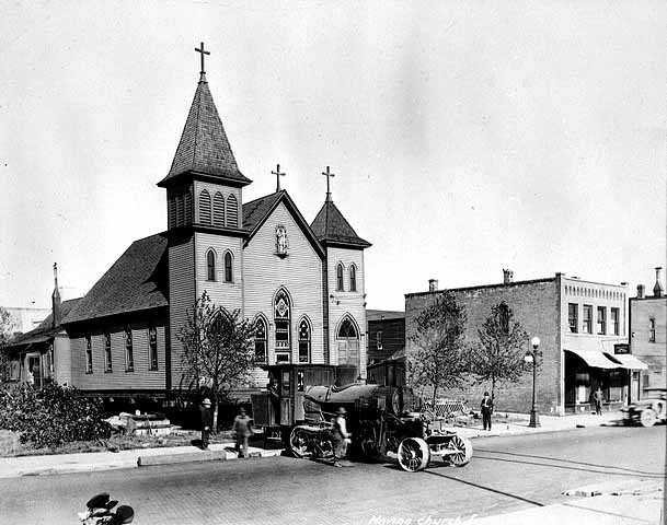 Moving church from Townsite Forty to Park Addition, Hibbing.