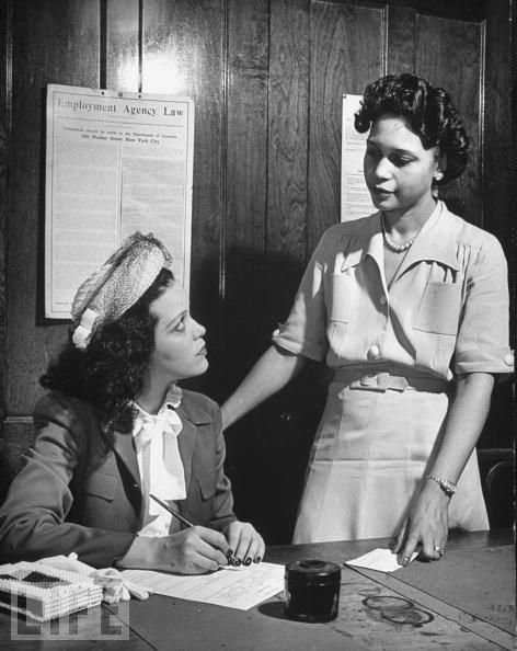 Black and white photograph of Hilda Simms (left) posed for a promotional photo for Life Magazine, c.1945.