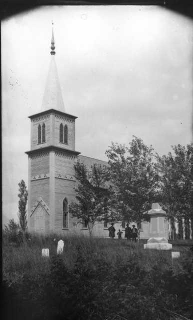 Black and white photograph of Holden Church, Kenyon, August 5, 1891.