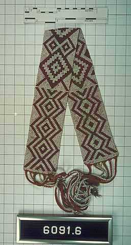 Ojibwe loom-woven beadwork and wool belt
