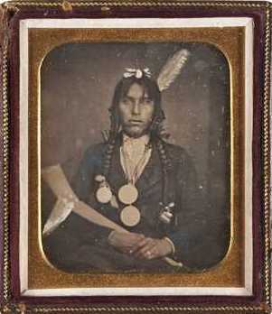 Portrait of Bagone-giizhig (Hole-in-the-Day the Younger), c.1855.