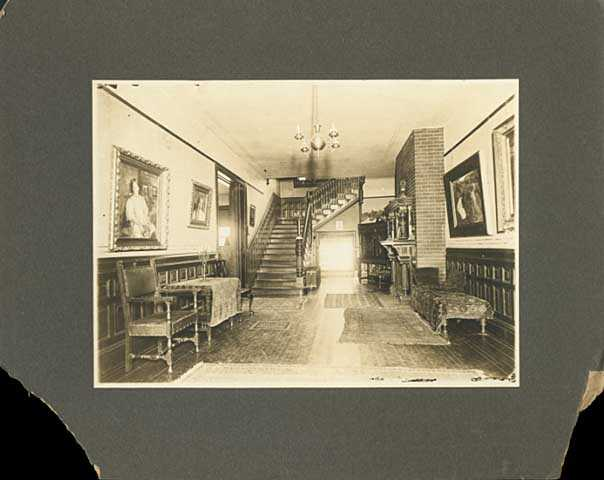Entrance hall of the Ueland family home, ca. 1900.