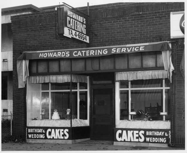 Howard's Catering Service in Minneapolis, building exterior, ca. 1960s. Photo by Marvin Makler Photography. Oscar C. Howard papers, 1945–1990, Cafeteria and Industrial Catering Business, Manuscripts Collection, Minnesota Historical Society.