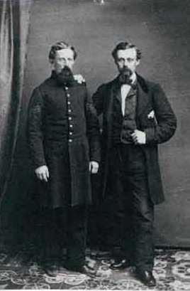 Black and white photograph of Alexander Kinkead and William Kinkead, Second Battery Light Artillery, c.1862.