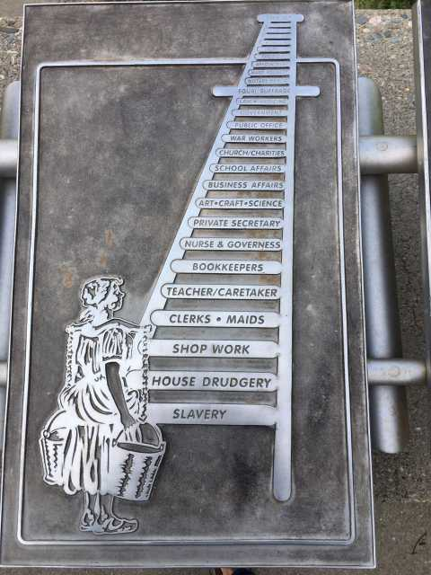 Steel tablet showing the civil and social rights ladder women had to climb to achieve suffrage. Photo by Linda A. Cameron.