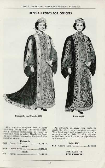 Drawing of robes worn by Rebekah Lodge officers, 1971.