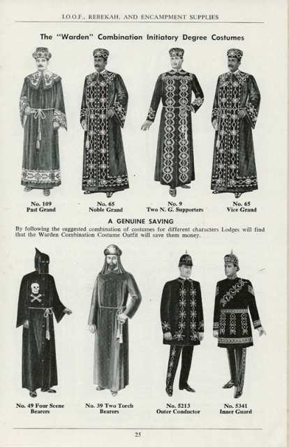 Drawing of costumes worn by IOOF members during initiation ceremonies, 1971.