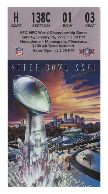 Color image of a Superbowl XXVI admission ticket for the AFC-NFC World Championship Game, January 26, 1992 at the Metrodome.