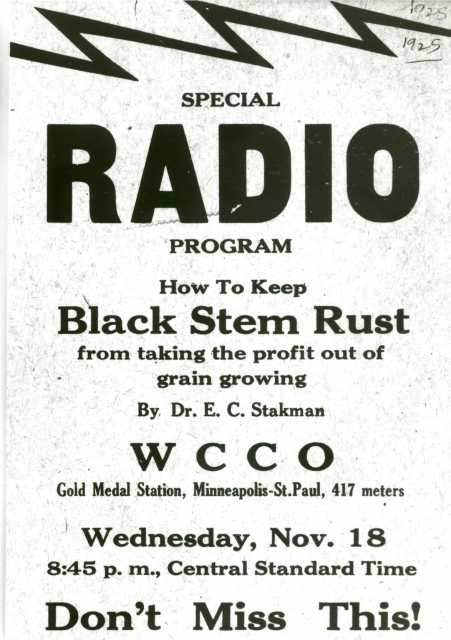 Advertisement for a radio broadcast on WCCO hosted by E. C. Stakman in 1925—an example of public education about barberry eradication.