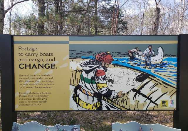 Interpretive sign in Savanna Portage State Park, 2018. Photograph by Jon Lurie; used with the permission of Jon Lurie.