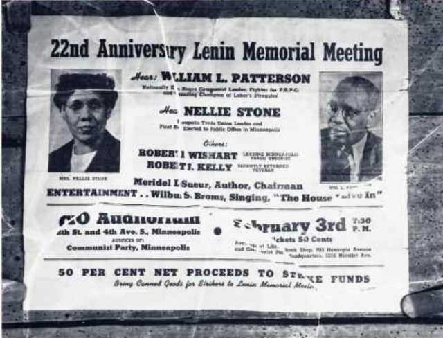 Black and white scan of a flyer, with photo, advertising a Communist Party-sponsored event, 1946.