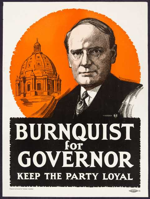 Photograph of a J.A.A Burnquist campaign poster, 1918