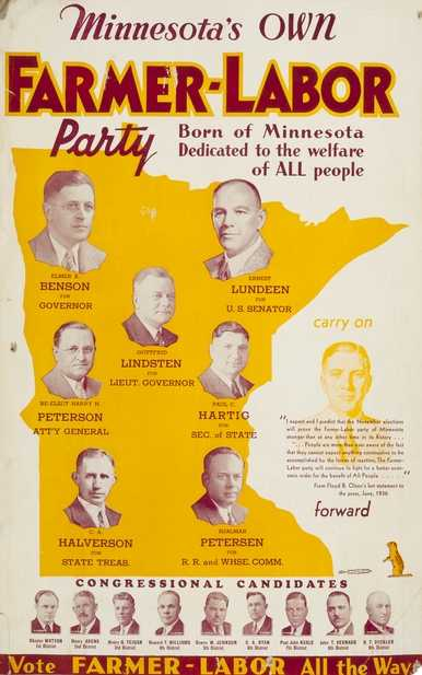 """Color image of a poster titled, """"Minnesota's own Farmer-Labor party,"""" 1936."""