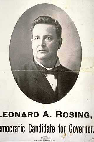 Poster for Leonard A. Rosing, Democratic candidate for Minnesota governor, 1902.