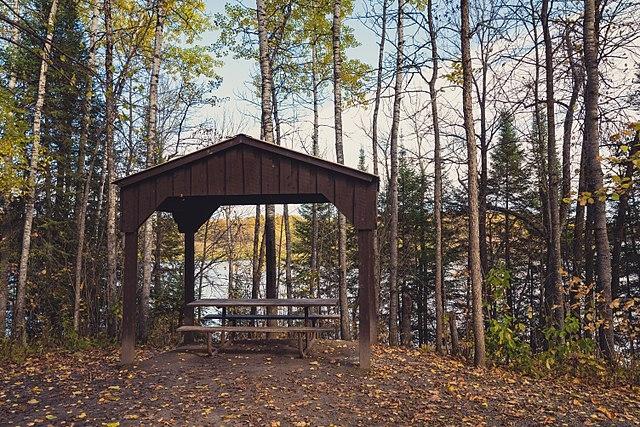 Picnic shelter in Franz Jevne State Park