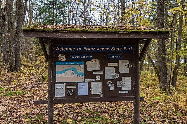 Signage in Franz Jevne State Park