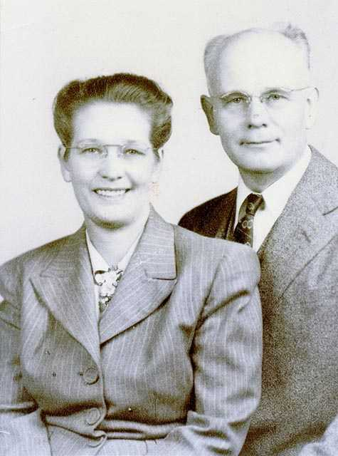 Black and white photograph of John A. Wiebe and Viola Bergthold Wiebe, missionaries to India, ca. 1970.