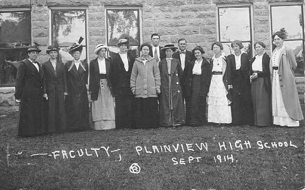 The faculty of Plainview High School, Wabasha County, Minnesota, 1914.