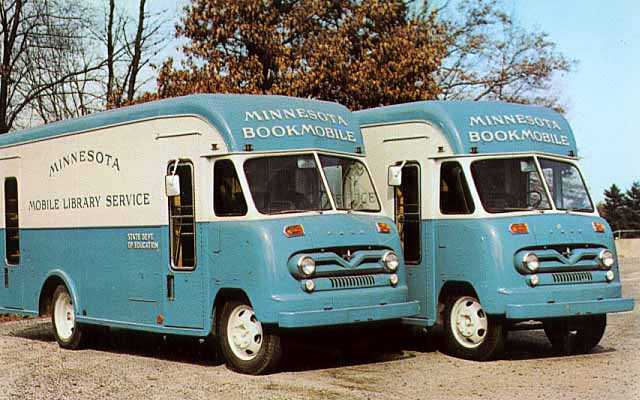 Bookmobiles funded and managed by the Minnesota State Department of Education, ca. 1960.