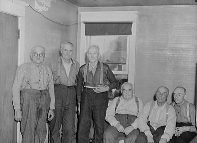 Black and white photograph of former squatters and lumberjacks from the Beltrami Island area in Northern Minnesota, 1939.