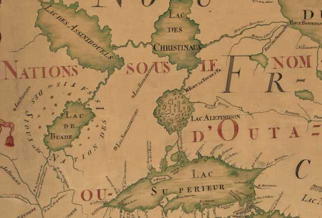 """Detail view of a map made in 185 by Jean-Baptiste Louis Franquelin. Text surrounding Lake Mille Lacs (at center left, labelled here as Lac de Buade) identifies the area as inhabited by the """"Issatis,"""" or Santee Dakota. The map provides some of the earliest extant textual evidence of a Dakota community at Lake Mille Lacs."""