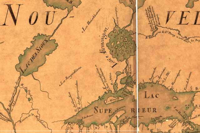 """Detail view of a map made in 1685 by Jean-Baptiste Louis Franquelin. Lake Mille Lacs (at center left) is labelled as """"Lac des Sioux, suggesting that the area was known as a home for Dakota people as early as the seventeenth century."""