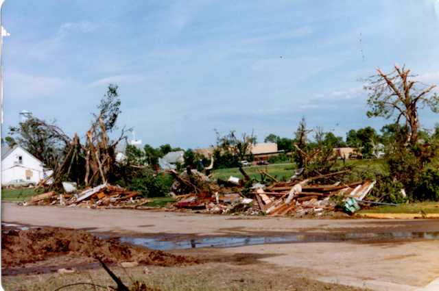 Damaged property in the town of Lake Wilson in the aftermath of the Chandler–Lake Wilson Tornado, June 1992.