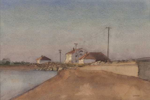 Watercolor of the Grand Marais Lighthouse.