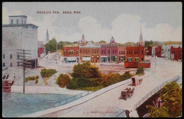 Pillsbury Lincoln Mill and a bird's-eye-view of Anoka, Minnesota