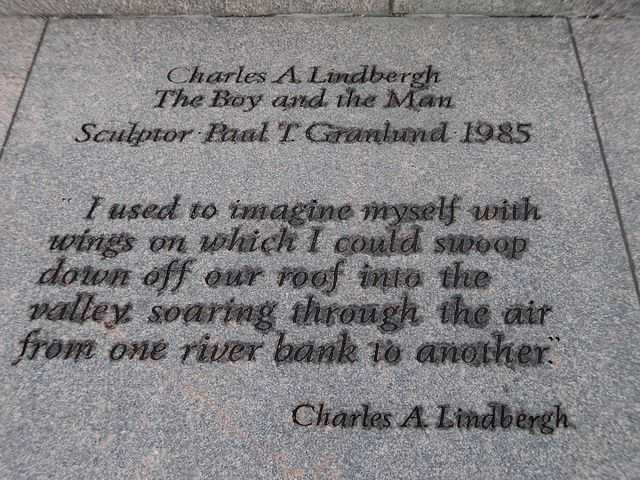 """Inscription at the base of """"Charles A. Lindbergh: The Boy and the Man"""""""