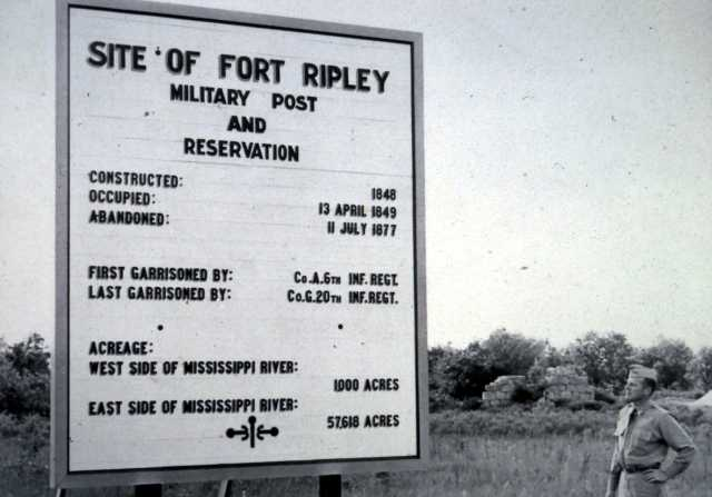 Black and white photograph of a sign marking the site of old Fort Ripley, 1850.