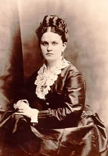 Black and white photograph of Mary Mehegan Hill, as a bride, 1867.