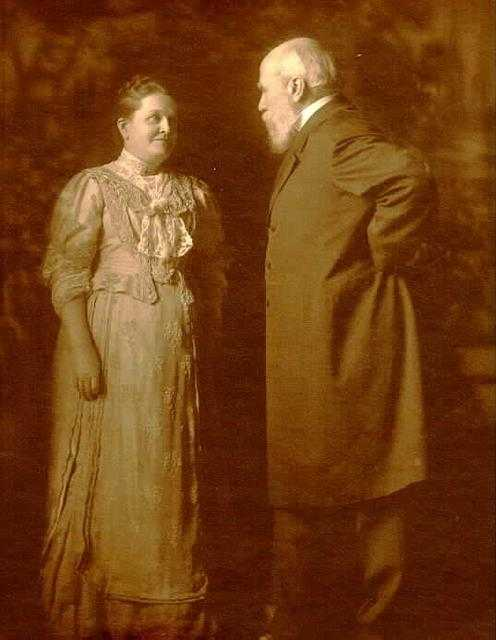 Black and white photograph of Mary Mehegan Hill and James J. Hill, 1915.
