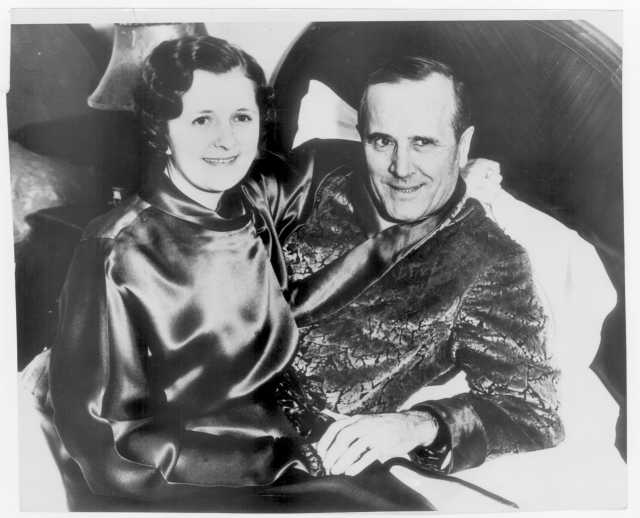 "Photograph of Wilford ""Captain Billy"" Fawcett with his third wife (and former secretary) Frances Robinson."