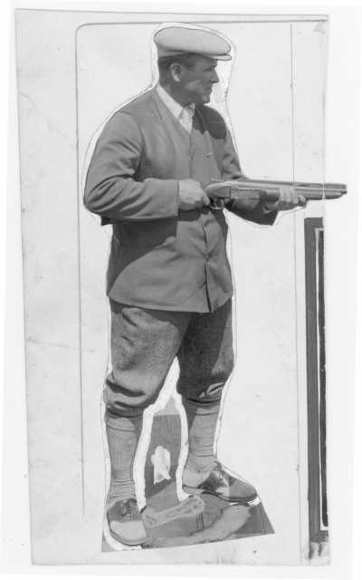 "Wilford ""Captain Billy"" Fawcett with a trapshooting shotgun. Fawcett captained the U.S. trapshooting team at the 1924 Olympics"