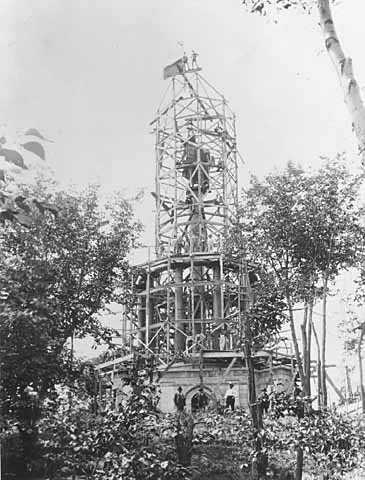 Black and white photograph showing the construction of the Hermann Monument, New Ulm, ca. 1888–1897.